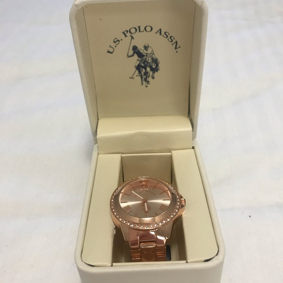 Rose gold polo watch